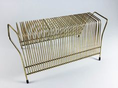 Vintage Metal Gold Toned Mid Century Record Holder LP 45's Rack Desk Letter Organizer - pinned by pin4etsy.com