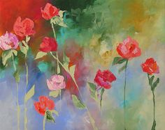 Original Floral Painting Abstract Art Fauve Impressionist Still Life Roses Landscape Acrylic Painting on Canvas Linda Monfort