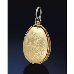 EXCEPTIONAL JEWELS AND PRECIOUS OBJECTS FORMERLY IN THE COLLECTION OF THE DUCHESS OF WINDSOR: GOLD AND DIAMOND NÉCESSAIRE DU SOIR, CARTIER, PARIS, DECEMBER 1947 Egg-shaped with twisted ropework borders, the front engraved with the armorial bearings of HRH The Duke of Windsor, the reverse with monogram WW for Wallis Windsor below a Royal Ducal coronet, the thumbpiece collet-set with a rose diamond, opening to reveal a single lidded compartment with a mirror and feather powder puff.