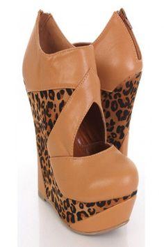 Leopard Faux Leather Fabric Cutout Platform Wedges