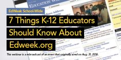 """#Educators— Join Ryan Lanier and Holly Peele for their """"EdWeek School-Wide: 7 Things K-12 Educators Should Know About Edweek.org""""  #EWWebinar w/ Holly Peele and Ryan Lanier—10/21, 2pm ET Education Week, Free Education, Leadership, Things To Come, Join, Public, Learning, School, Studying"""