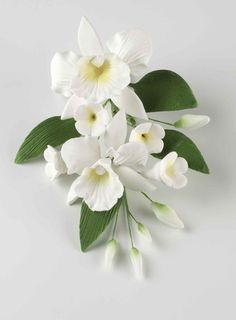 Popular White Wedding Flowers | Medium Bridal White Orchid Spray Sugar Orchid Cake Decorations