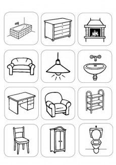 Risultati immagini per house furniture worksheets Home Themes, House Drawing, Preschool Worksheets, Toddler Worksheets, Lessons For Kids, English Lessons, Interactive Notebooks, Drawing For Kids, Kids Education