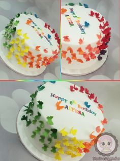 Rainbow butterflies cake - Cake by YumZee_Cuppycakes