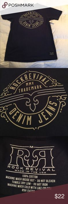 Guys rock Revival tee Navy blue tee Sz M. 100% cotton Rock Revival Shirts Tees - Short Sleeve