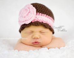 Crochet Hat Pattern Newborn Crochet Hat Flower Flapper Beanie