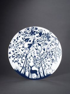"Tord Boontje, Table Stories Dinnerware Plate, 2005, porcelain, underglaze blue. From ""Blue and White: A Ceramic Journey."""