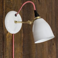 Lovell Porcelain Plug-In Sconce, Modern Sconce| Barn Light Electric - available in all brass and in lots of colors and cord options