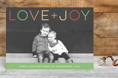 Modern Palette Holiday Photo Card. Cute Christmas cards.  Black and White.  Color font.