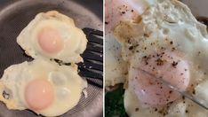 Was ist ein Brunch ohne Spiegeleier? Genau. Nur halb so gut. Wir zeigen Ihnen, wie das perfekte Spiegelei ganz ohne glibberige Oberfläche klappt. Brunch, Eggs, Breakfast, Ethnic Recipes, Food, Perfect Fried Egg, Fried Eggs, Roast, Food Food