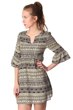 Black printed mini dress with ruffle 3/4 sleeves