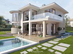 www.wspolczesnedomy.pl Mansions, House Styles, Home Decor, Decoration Home, Manor Houses, Room Decor, Villas, Mansion, Home Interior Design