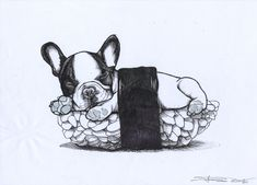 Sushi French Bulldog, Frenchie drawing by Jeroen Teunen , The Dog Painter. Tattoo Design sketch. Visit blackspecs.de