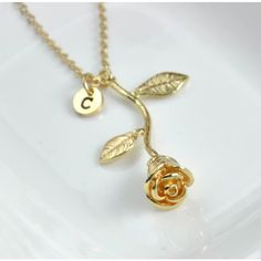 Personalized Rose Pendant Necklace ($29) ❤ liked on Polyvore featuring jewelry, necklaces, initial charm necklace, rose pendant necklace, gold plated initial necklace, initial necklace and chain necklaces