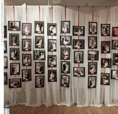 Cute idea found on #TheKnot - the bride & groom hung photos of their guests' wedding days & even paid homage to engaged guests ♥
