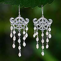 Pearl chandelier earrings, 'White Rain'