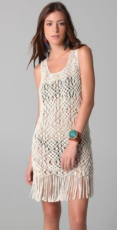 Fringe crochet macrame dress