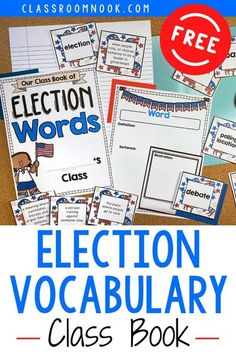 Get your FREE Presidential Election Vocabulary Class Book today to use in the upper elementary classroom! Grab this printable or digital class book to help teach 19 important election-related vocabulary words! The perfect presidential election activity for upper elementary students in 3rd, 4th, and 5th grade with a variety of activities ideas included. Get your FREE Presidential Election vocabulary class book today!