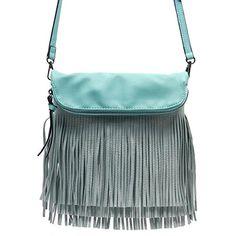 Elphis Western Fringe Tassel Cross Body Bag Satchel Shoulder Bag Mint004 >>> See this great product.