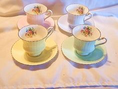 Set-of-4-Matching-Pastel-Paragon-England-Bone-China-Tea-Cup-Saucer-Sets