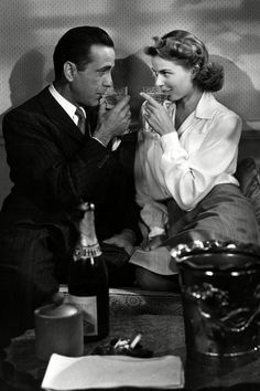 """Here's lookin at you, kid."" Humphrey Bogart and Ingrid Bergman in Casablanca"