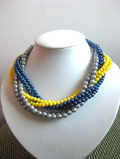 Free Shipping Navy Blue Grey Glass Pearl Yellow by LaetitiaJewelry, $27.00