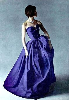 Gorgeous violet silk gown with velvet trim and bow by Grès, jewelry by Van Cleef & Arpels, L'Officiel 1960