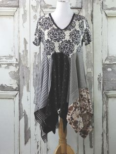 Floral Black and White Tunic Dress Upcycled Clothing Wearable Art Tunic in Women's Clothing by CuriousOrangeCat on Etsy