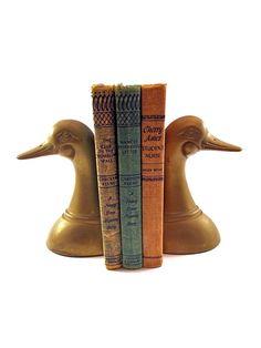 Vintage Solid Brass Duck  Mallard Bookends by EagleWingVintage