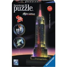 **NEW** Ravensburger Empire State Building Night Edition Puzzle 216 Pieces for sale online Empire State Building, 3d Puzzel, Neon Licht, Jigsaw Puzzles For Kids, Ravensburger Puzzle, Legrand, Skyline, New York, Famous Landmarks