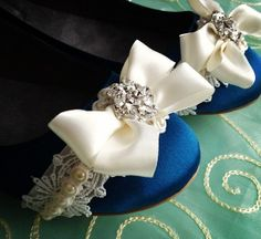 Bowtie Bridal Ballet Flats Wedding Shoes  All by BeholdenBridal, $115.00