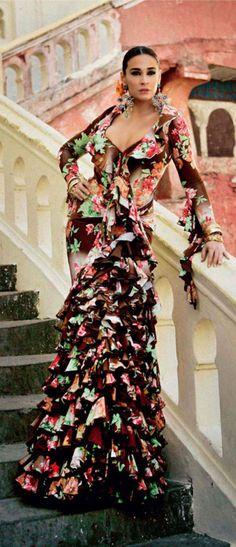 Flamenco Style Dress / Vicky Martin Berrocal by Mario Sierra for Hola Magazine Spain (April Spanish Dress, Spanish Woman, Spanish Fashion, Ballroom Dress, Camille, Fashion Mode, Costume, Designer Dresses, Flamenco Dresses