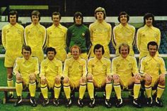 A fantastic picture of Leeds United at the end of the 1973/74 season & there new Admiral Yellow away shirt Champions!