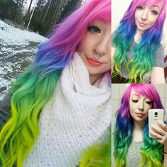 Rainbow hair by herman's amazing haircolor! www.hermanshaircolor.com Famous Street Artists, Rainbow Hair, Cool Hair Color, Dyed Hair, Hair Inspiration, Cool Hairstyles, Haircolor, Pretty, Amazing Hair