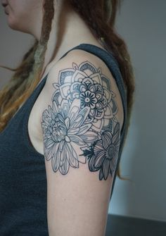in a graphic minimal style: mandala,dahlia & anemone..