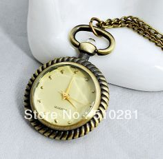 ROUND HIGH QUALITY NO COVER  roman DFDD481 FLOWER COPPER TONE GLASS POCKET WATCH 10PCS/LOT $150.32