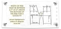 """PATTERNMAKER TIP:  **Width of Rise must be between 6-7"""" at 2"""" above the bottom of the rise for a good fit** Pattern Making: Pant Rise by Madalynne"""