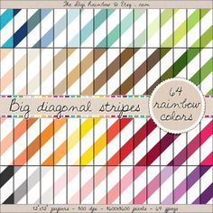 BIG DIAGONAL STRIPES 64 colors scrapbooking printable papers for crafts, journaling, party organization and decor or any DIY projects. 40% OFF!