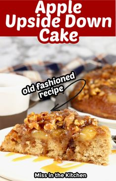 Apple Upside Down Cake is a delicious from scratch cake made in a cast iron skillet with caramelized walnuts and a fluffy spice cake. Great dessert for any occasion and easy enough for any day of the week. Easy No Bake Desserts, Apple Desserts, Great Desserts, Delicious Desserts, Dessert Recipes, Yummy Food, Upside Down Apple Cake, Most Popular Desserts, Desert Recipes