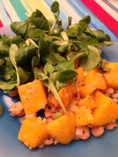 Salade mangue, crevette et échalote