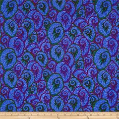 Philip Jacobs Spring 2017 Curlique Blue from @fabricdotcom  Designed by Philip Jacobs for Free Spirit, this cotton print fabric features vibrant hues a beautiful abstract design. Perfect for quilting, apparel and home decor accents. Colors include burnt orange, magenta, pink, purple, violet, red and shades of blue and green.