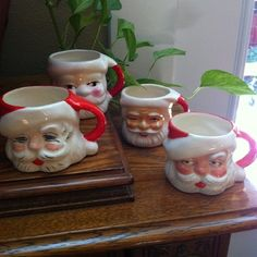 Old Retro Vintage Santa Claus Mugs Cups Christmas Country Cottage Chic 4 | eBay