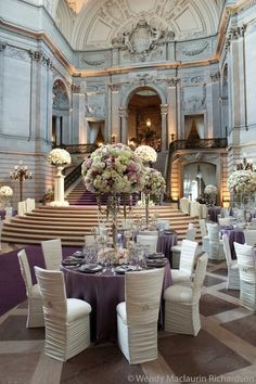 Purple & Cream Wedding Ideas..Gorgeous!  Abit over the top for me but I like the colors
