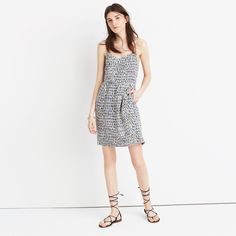 Silk Sunlight Cami Dress in Painted Feathers : waist defined dresses | Madewell