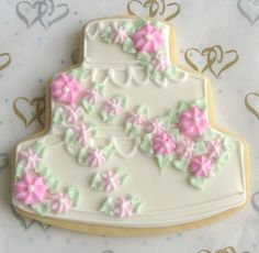 Draping Flower Wedding Cake Cookies  Decorated by lorisplace