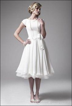 A Line Tea Length with Short Cap Sleeves Bateau Chiffon Real Beach Bridal Dress, $89.94 | DHgate