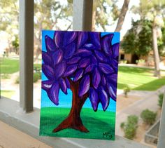 ACEO  Purple Tree Painting