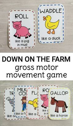Gross Motor Farm Game Preschoolers and toddlers will love moving like things found on the farm with this free printable gross motor farm movement game! Print and play! The post Gross Motor Farm Game appeared first on Toddlers Diy. Farm Games, Farm Activities, Preschool Themes, Preschool Lessons, Preschool Classroom, Preschool Learning, In Kindergarten, Preschool Activities, Farm Theme Classroom