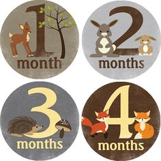 Monthly Bodysuit Baby Growth Stickers  Woodland by threewagons, $9.00