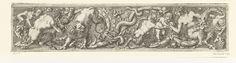 Franz Cleyn | Fries met slang in het midden, Franz Cleyn, 1645 | Tussen de bladranken zijn van links naar rechts de volgende figuren te zien: een aap op de kop van een ram, een sater met een kind in zijn armen, een leeuw, een slang, een saterkind, een putto en een vrouwelijke sater. Blad uit serie bestaande uit een titelblad en negen ongenummerde bladen.